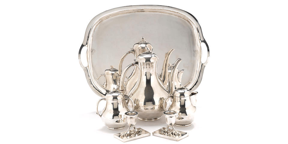 A Mexican  sterling silver  Modernist three piece coffee service by Fabian,  mid-20th century