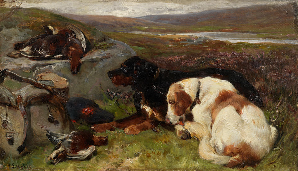 John Sargent Noble, RBA (British, 1848-1896) Gone to ground; The day's bag, 8 1/4 x 14 1/4in. (21 x 36cm.)