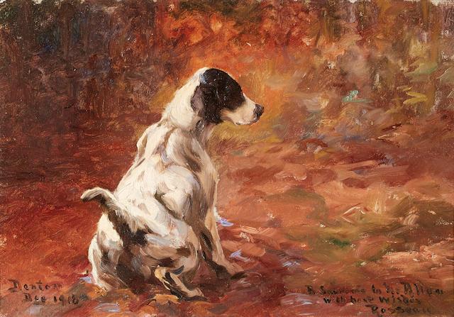 Percival Leonard Rosseau (American, 1859-1937) Setter in a Landscape 10 x 14in. (25.4 x 35.7cm.)