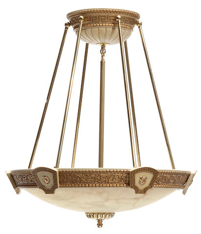 A Versace design alabaster and giltwood chandelier