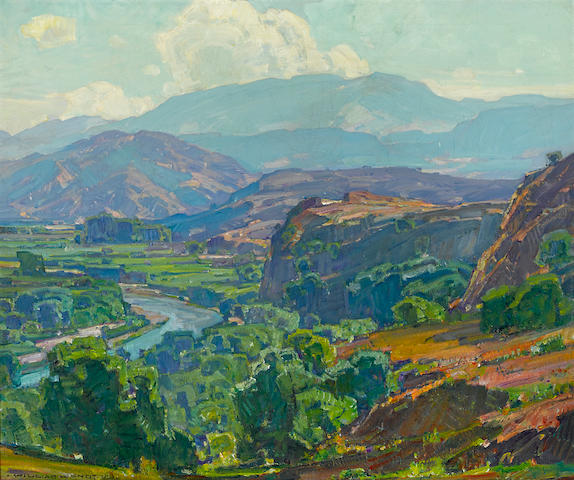 William Wendt (American, 1865-1946) Misty Morning, Santa Ana Canyon 30 x 36in overall: 35 1/2 x 41in (Painted in 1928)