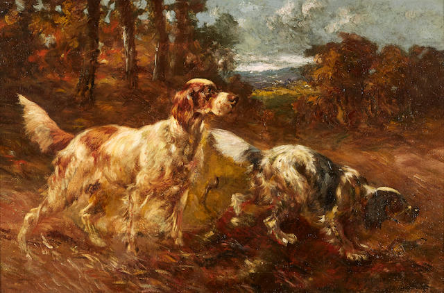 B. Beaumont (American) English Setters in a field, ca. 1890 20 x 30in. (50.7 x 76.2cm.)
