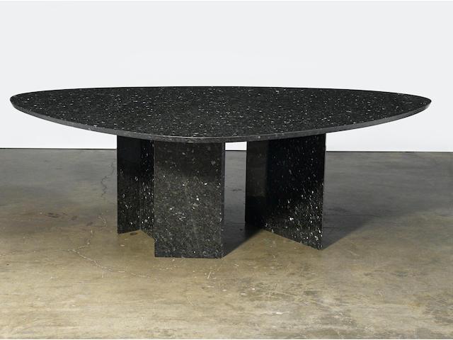 John Lautner  Dining tablecustom designed circa 1975, graniteheight 29 1/4 (74.5cm); width 84.5in (214.5cm); depth 59 1/2in (151cm)