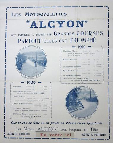 "An ""Alcyon"" Motorcycle poster, circa 1920, 21¾ x 17¾ ins."
