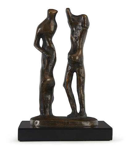 Henry Moore O.M., C.H. (British, 1898-1986) Standing Man and Woman height 7 1/4in (18.5cm)