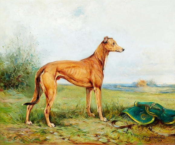 Philip Eustace Stretton (British, 1863-1930) Greyhound in a landscape 25 x 30in. (63.5 x 76.2cm.)