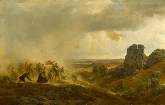 Carl Friedrich Lessing (German, 1808-1880) The flight 34 1/2 x 54 1/4in (87.6 x 137.7cm)