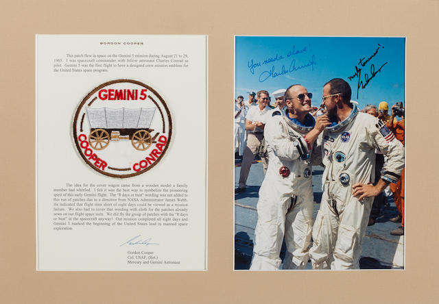 GORDON COOPER'S FLOWN GEMINI 5 MISSION EMBLEM  THE FIRST EMBLEM DESIGNED BY A FLIGHT CREW AND WORN ON THEIR SPACE SUITS