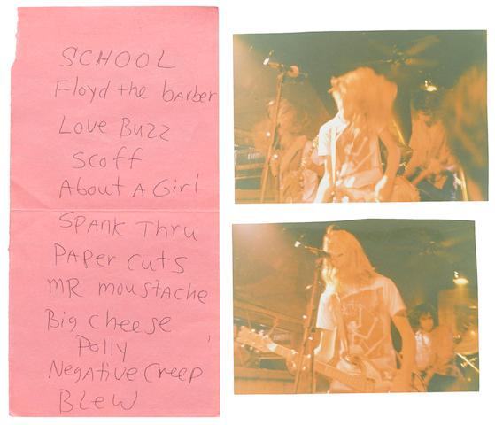 A Kurt Cobain Nirvana set list