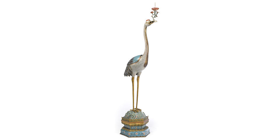 A massive cloisonné enameled metal crane and stand 20th century