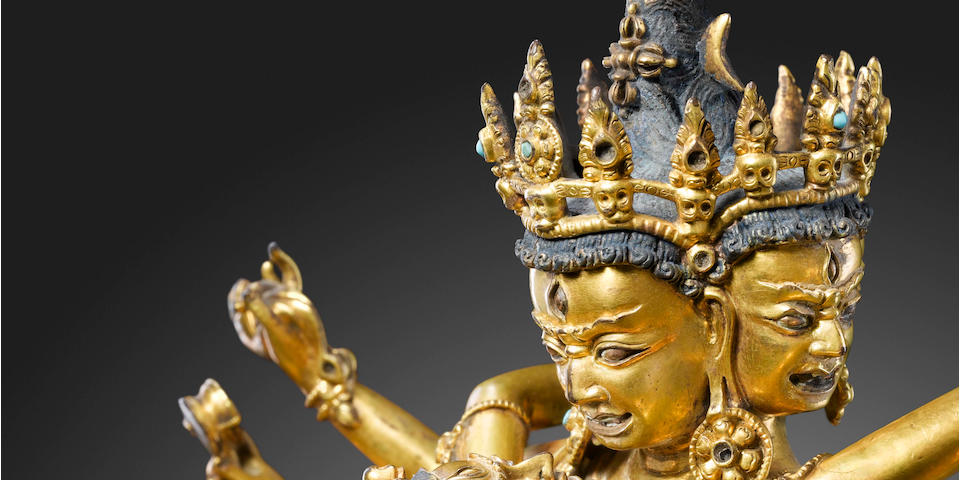A gilt copper alloy figure of Chakrasamvara Tibet, 15th century