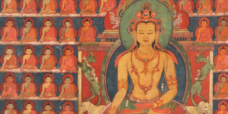 A thangka of Ratnasambhava Tibet, 14th century