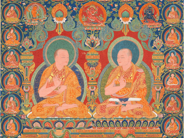 A lineage portrait thangka of the Ninth and Tenth abbots of Ngor monastery Southern Tibet, Ngor monastery, circa 1557