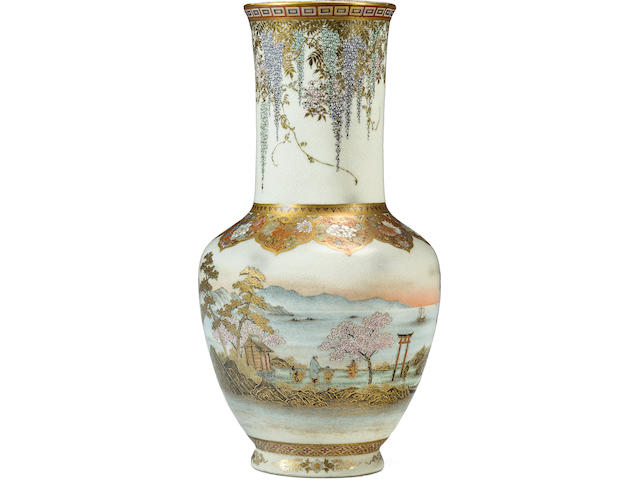 A large and fine Satsuma vase  By Yabu Meizan, Meiji era (late 19th century)