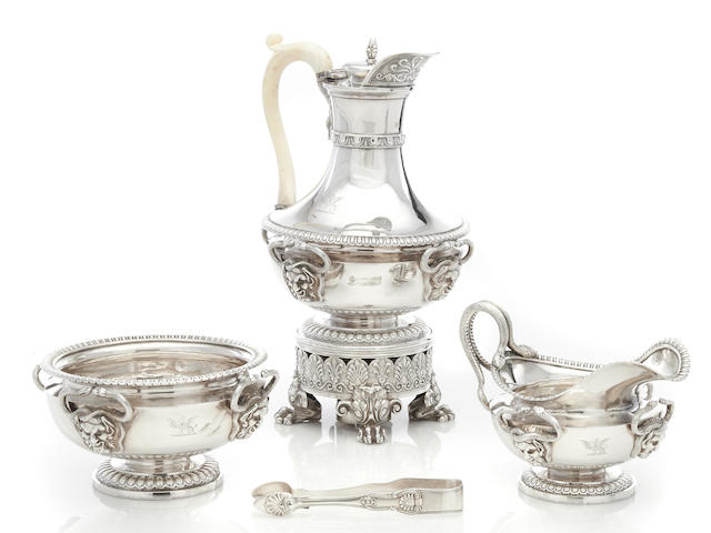 A Regency  sterling silver three-piece coffee service by Paul Storr; retailed by Rundell, Bridge and Rundell,  London, 1814
