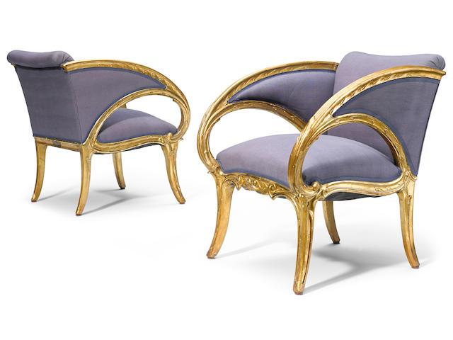 A pair of Joan Busquets Modernismo giltwood fauteuils  circa 1904