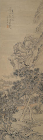Attributed to Zhu Ying (1795-1850) Pine and Waterfall Landscape
