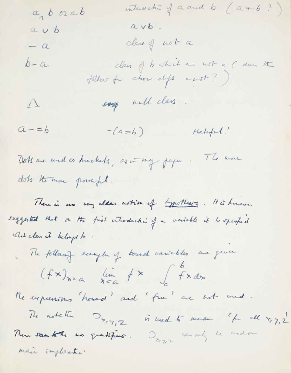 TURING, ALAN MATHISON. 1912-1954. Composition notebook.