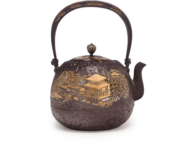 An inlaid iron tetsubin (kettle) Meiji era (late 19th century)