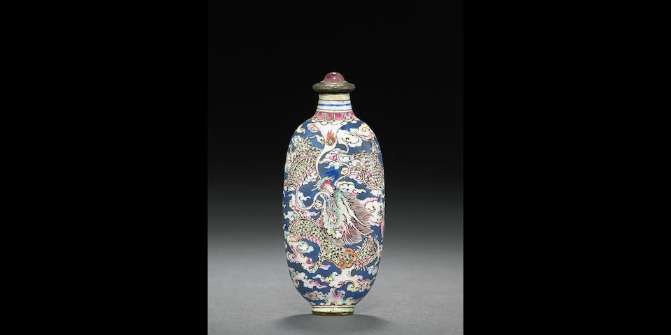 An enamel on copper 'dragon' snuff bottle   Probably Imperial, Palace Workshops, Guangzhou. 1720-1750