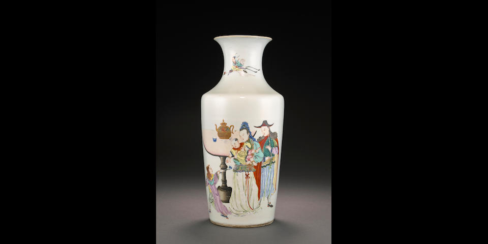 A famille rose enameled vase with European figures Late Qing/Republic period