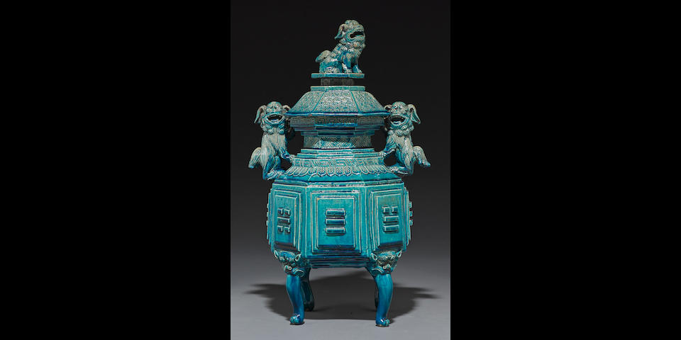 A turquoise blue glazed pottery censer and cover Late Qing/Republic period