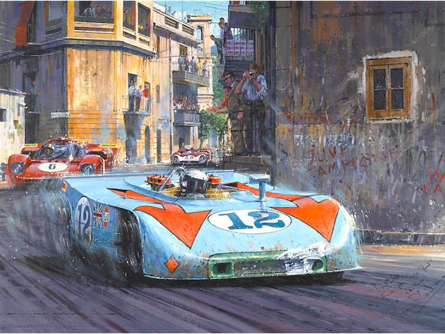 Nicholas Watts: A 1970 Targa Florio painting, UK, 46½ x 33 ins.