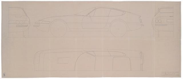 Ferrari 365 GTB4 Daytona, Pininfarina Studio blueprint, 1968, 57 x 24½ ins.