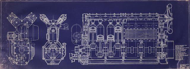 "A 1937 Offenhauser engine large original factory blueprint, 1/1 scale, 6' 10"" x 30"""
