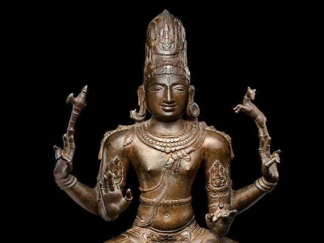 A copper of figure of Shiva Sukhasanamutri  South India, Chola period, 11th century