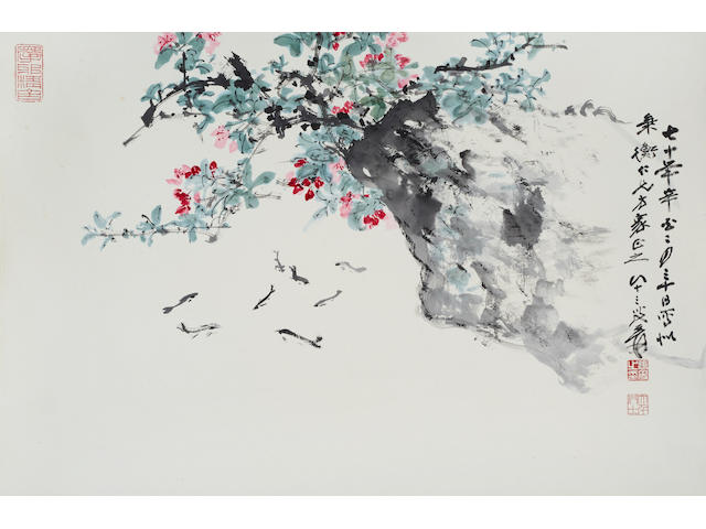Zhang Daqian (1899-1983)  Fish and Flowers, 1981