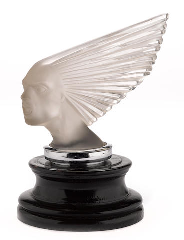 A rare 'Victoire' glass mascot by René Lalique, French, 1928, Approximately 10½ ins. long.