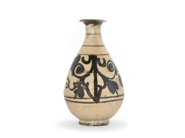 A buncheong ware wine bottle with iron-painted decoration Joseon dynasty, late 15th-early 16th century