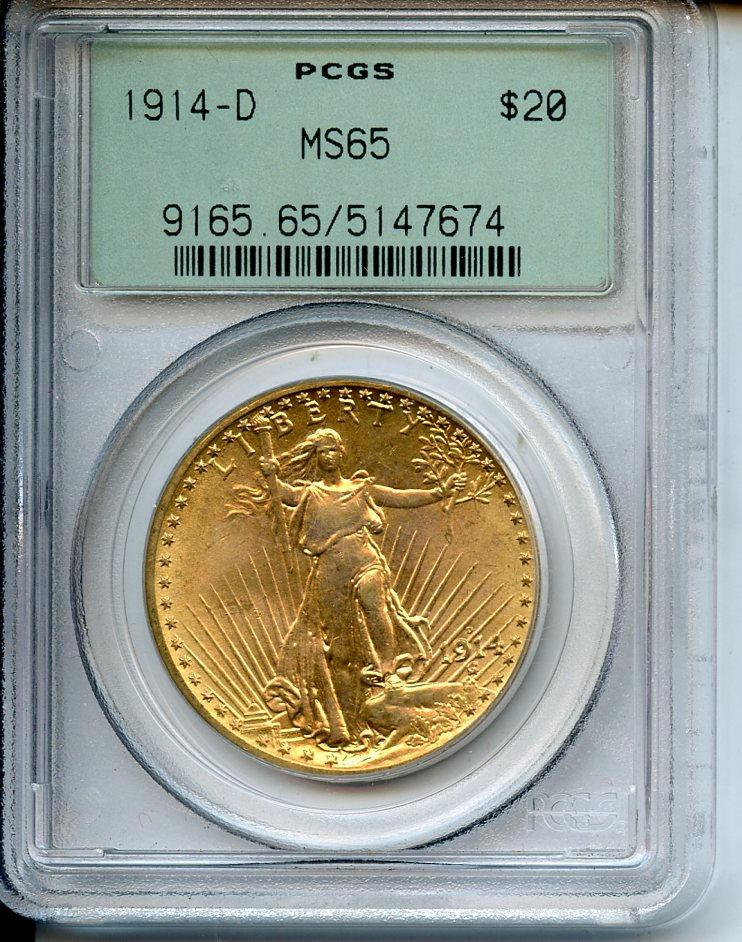 1914-D $20 MS65 PCGS