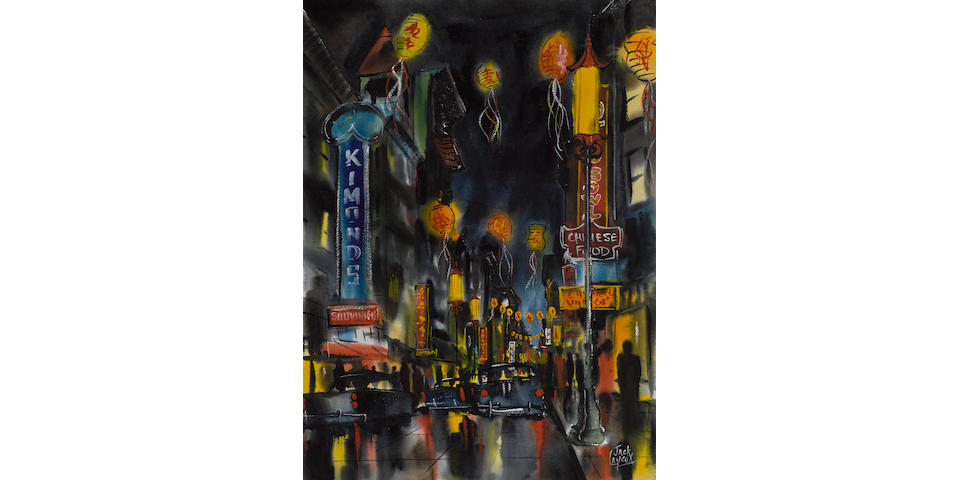 Jack Laycox (American, 1921-1984) Night on Grant Avenue sight: 29 1/2 x 21 3/4in (Painted in 1964)