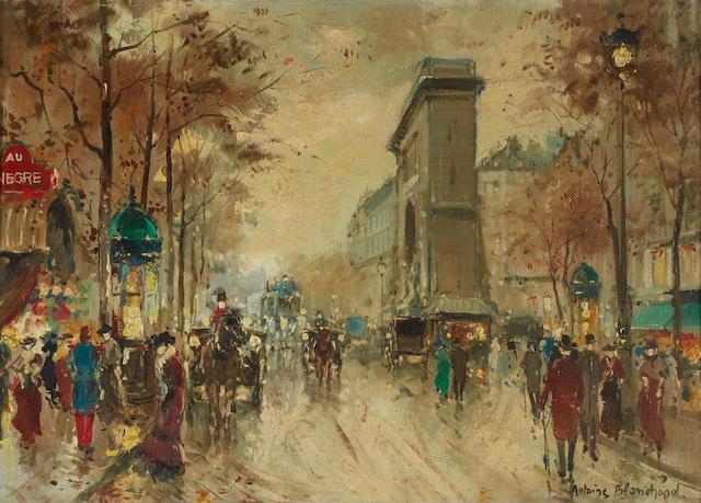 Antoine Blanchard (French, 1910-1988) La Porte Saint Denis 13 x 18in (33 x 45.7cm)