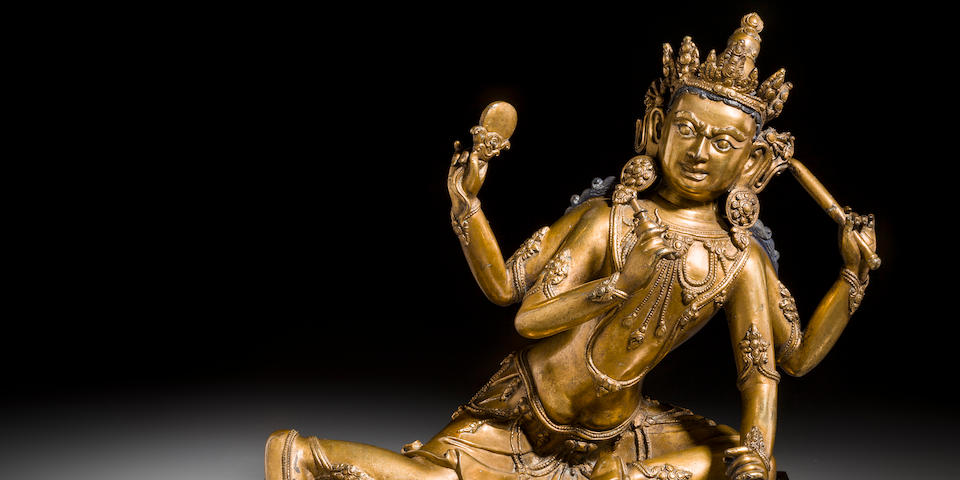 A gilt copper alloy deity from a Vajrabhairava shrine Tibeto-Chinese, Yongle period, early 15th century