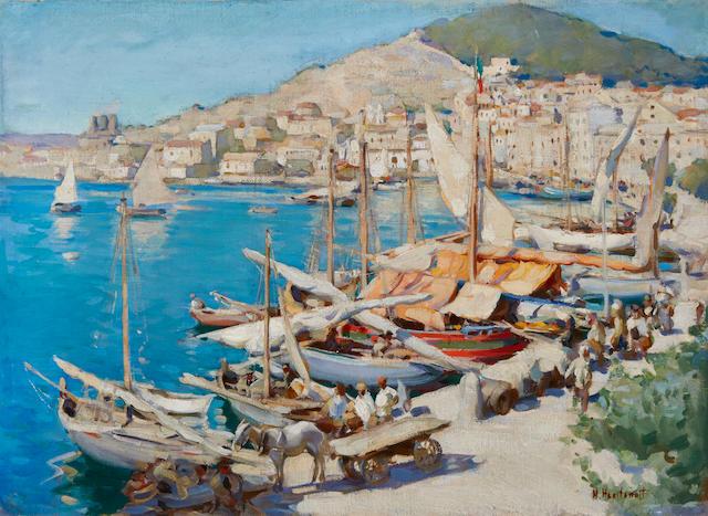 Nicolas  Haritonoff (Russian/American, 1880-1944) Italian port city