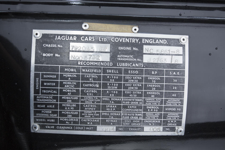 <b>1959 JAGUAR Mk IX SALOON  </b><br />Chassis no. 792045BW <br />Engine no. NC5861-8