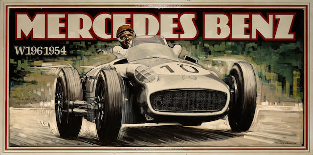 Property from an important private collection Tony Upson: Mercedes Benz W196 1954, Visual image 42½ x 90½; Overall 48 x 96 ins.