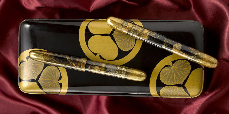 DUNHILL-NAMIKI: Golden Tiger and Black Cat A-Grade Maki-e Fountain Pens, Emperor-Size, Commissioned by Kaikhosru Shapurji Sorabji, Signed by Haruo and Mansui, early 1930s