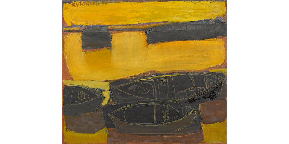 Raimonds Staprans (Latvian/American, born 1926) Boats #1, 1959 22 x 25 1/4in