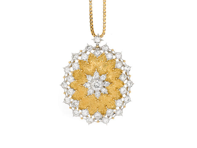 A diamond and 18k bicolor gold pendant-brooch,
