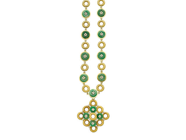 A jadeite jade and diamond pendant-necklace