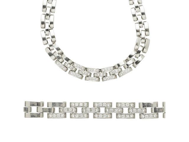 A diamond and 18k white gold brickwork link necklace and bracelet