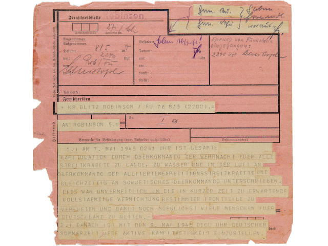 German Surrender telegram: Sent by Doenitz to his commanders in the field, recovered from Field Marshal Ritter von Greim, Commander of the Luftwaffe. captured [Munich?], 8th May 1945 8 x 8 in (21 x 21 cm)