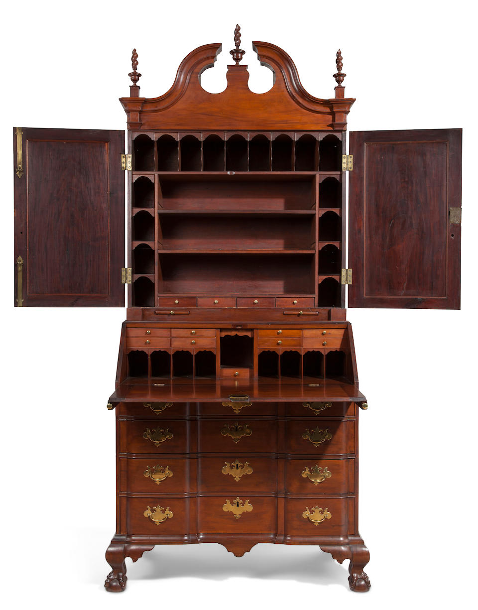 A Chippendale mahogany blockfront desk-and-bookcase Massachusetts, 18th century