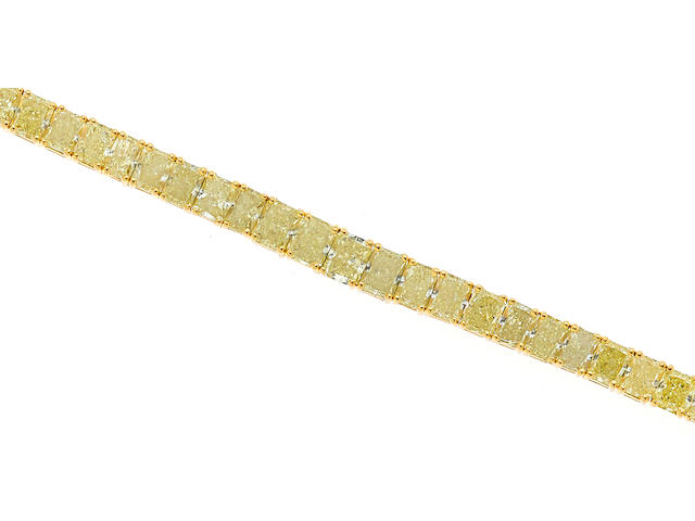 A colored diamond line bracelet
