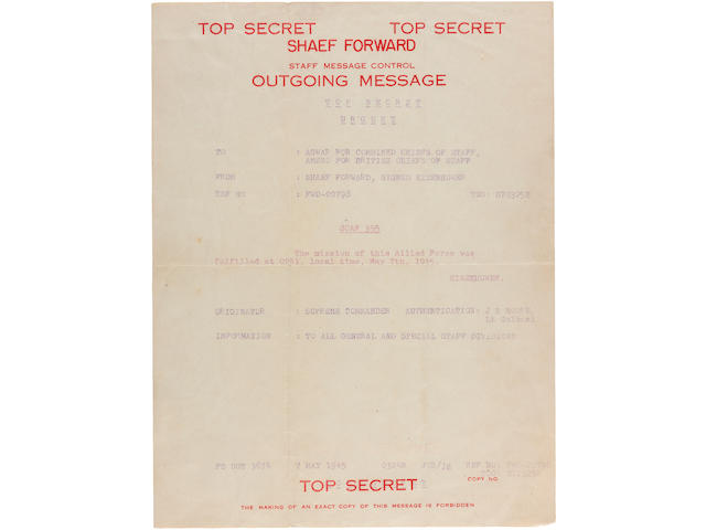 "Eisenhower's telex to the Combined Chiefs of Staff and British Chiefs of Staff: ""the mission is completed at 0241 May 7th 1945"" 10.5 x 8 in (27 x 20 cm)"
