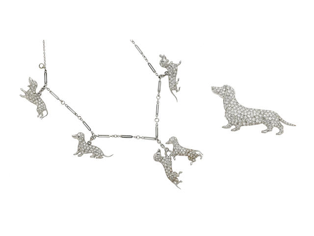 An art deco diamond and platinum dachshund motif charm bracelet and brooch,